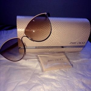 Jimmy Choo Brown Gold Tanis Sunglasses